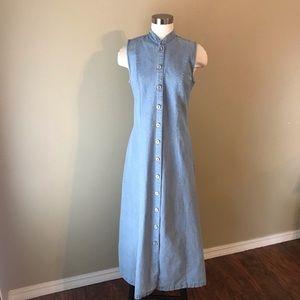 Vintage 90s Blue Denim Button Down Maxi Dress